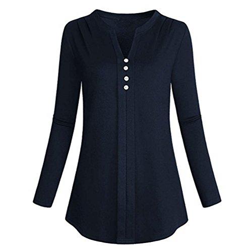 V-notch Skirt - Women Blouse, Realdo Notch V Neck Long Sleeve Pleat Knit Casual Henley Tunic Shirt