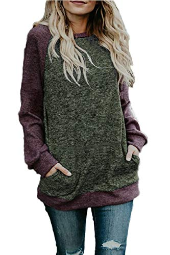 - CHYRII Women's Long Sleeve Lightweight Sweatshirt Pullover Jersey Tunic Tops Green + Wine M