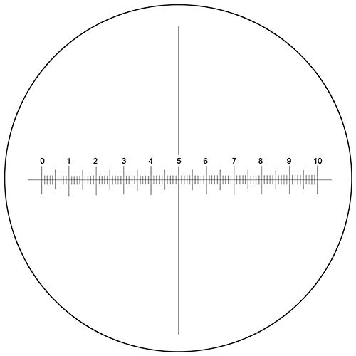 BoliOptics Microscope Eyepiece Reticle Cross Line Micrometer Ruler, X-Axis Crosshair Scale Dia. 24mm, 10mm/100 Div. RT20103163