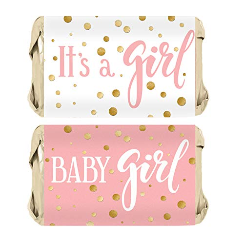 - Pink and Gold It's a Girl Baby Shower Favor Miniatures Candy Bar Wrapper Stickers | 45 Count