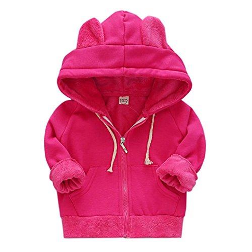Fashion Solid Hooded Zipper (Nevera Fashion Casual Girls Boys Solid Long Sleeve Hoodie Warm Winter Zipper Coat Childrens Kids Jacket (2-3T, Hot Pink))
