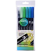 Tombow ABT Dual Brush Pen includes Blender Pen - Ocean Colours (Pack of 6)