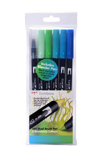 Tombow ABT Dual Brush Pen includes Blender Pen - Ocean Colours (Pack of 6)