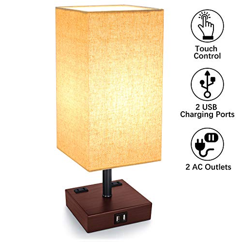 (3-Way Touch Control Dimmable Table Lamp with 2 USB Charging Ports, 2 AC Outlets, Modern Bedside Lamp Nightstand Lamp for Bedroom Living Room Office, 60W Equivalent Vintage LED Bulb Included(Brown))