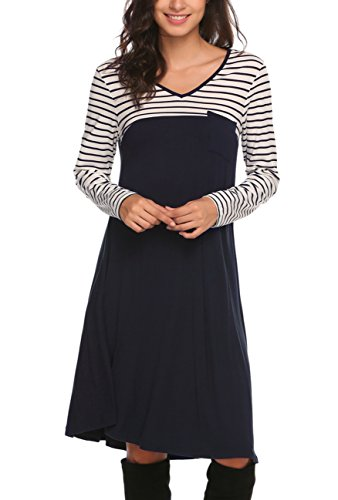 Shirt Navy T ydf1 Zeagoo Women's Tunic Swing Dress Tunic Striped Blue Print Sleeve Long Striped Dress wqwtPIZn1