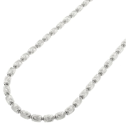 Sterling Silver Italian 3mm Oval Bead Moon Cut Barrel Link Solid 925 Rhodium Necklace Chain 22