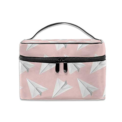 Paper Airplane, Pink Background Toiletry Bag/Makeup Organizer/Cosmetic Bag/Portable Travel Kit Organizer/Household Storage Pack/Bathroom Storage With Hanging For Business,Vacation,Household