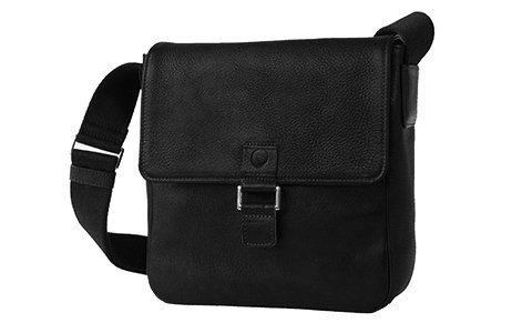Sonnenleder - hochwertige Tasche Rubio Farbe: Schwarz, Innenfutter: Postman Blue *Echtes Leder*