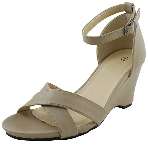 Womens Platform Ankle Wedge Camel Select Sandal Cambridge Strappy Open Crisscross Toe w5ORqa6