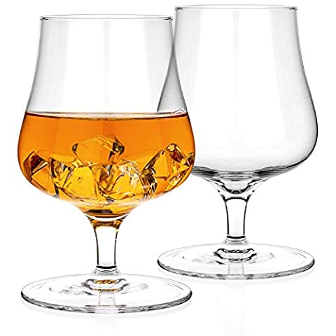 Luxbe – Brandy Whiskey Crystal Glasses Snifter, Set of 2 – Handcrafted – Lead-Free Crystal Glass – For Cognac Bourbon…