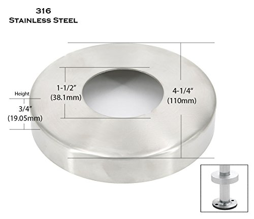 Steel Pipe Railing (Stainless Steel 316 Base Flange Cover for 1-1/2