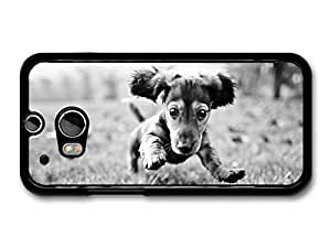 AMAF ? Accessories Cute Dog Jumping On The Grass Black & White case for HTC One M8 by Maris's Diary