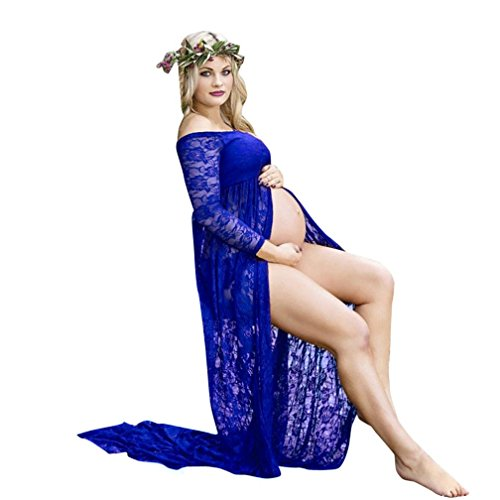 - Maternity Dress, Womens Sexy Front Split Off Shoulder Long Sleeve Lace Maternity Dress for Photoshoot (M, Dark Blue)