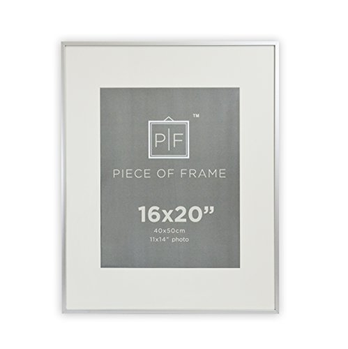 Golden State Art, 16x20 Aluminum Silver Photo Frame, with Ivory Color Mat for 11x14 Pictures, & Real Glass