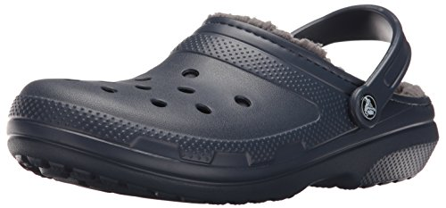 (Crocs Unisex Classic Lined Clog,Navy/Charcoal,10 US Men / 12 US Women)