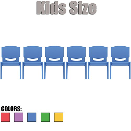 2xhome - Set of Six (6) - Blue - Kids Size Plastic Side Chair 10'' Seat Height Blue Childs Chair Childrens Room School Chairs No Arm Arms Armless Molded Plastic Seat Stackable by 2xhome