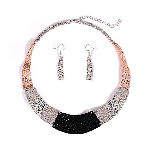 HSWE Women's Statement Hammered Bib Collar Necklace Enamel Tricolor Chunky Choker Necklace Earrings Set (Hammered Tricolor) ()