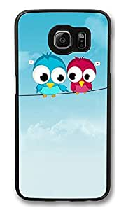 S6 Case, Cute Twitter Birds Creativity Ultra Fit Black Bumper Shockproof Case For Galaxy S6 Customizable Hard PC Samsung Galaxy S6