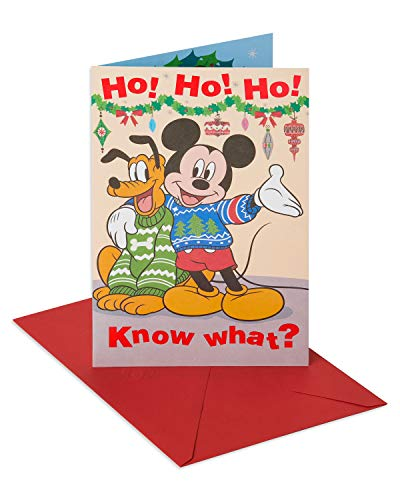 (American Greetings Disney Mickey Mouse Christmas Card with Foil)
