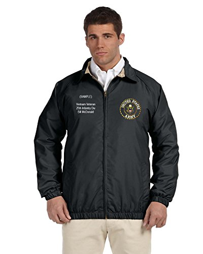 US Army Personalized Custom Embroidered Lightweight All Season Jacket - Black ()