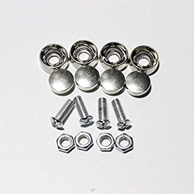 Onwon Stainless Steel Rust Resistant License Plate Frame Bolt Screws Fasteners with Corrosion Resistant Zinc Metal Safety Screw Caps Set of 4: Industrial & Scientific