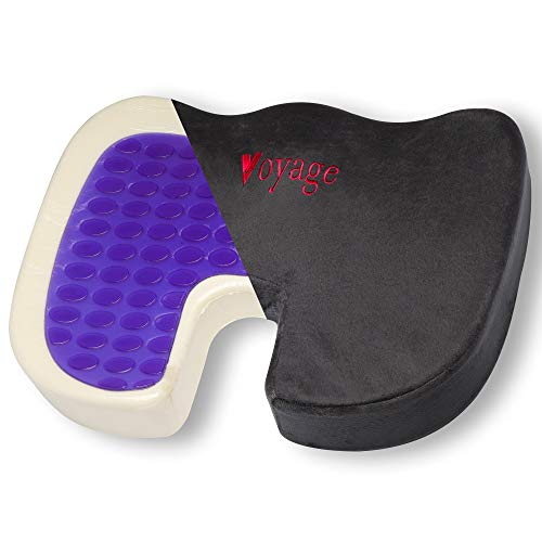 Premium Purple Gel Enhanced Seat Cushion | Orthopedic Memory Foam Coccyx Cushion for Tailbone Pain, Lower Back, Pelvic Pain and Sciatica Relief | Portable use Office Chair, Car seat, Wheelchair etc by Voyage Cushions