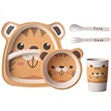 Bamboo Fiber Children's Tableware Cartton Baby Food Dinnerware Set Feeding Plates Dishes Bowl with Cup Fork Spoon