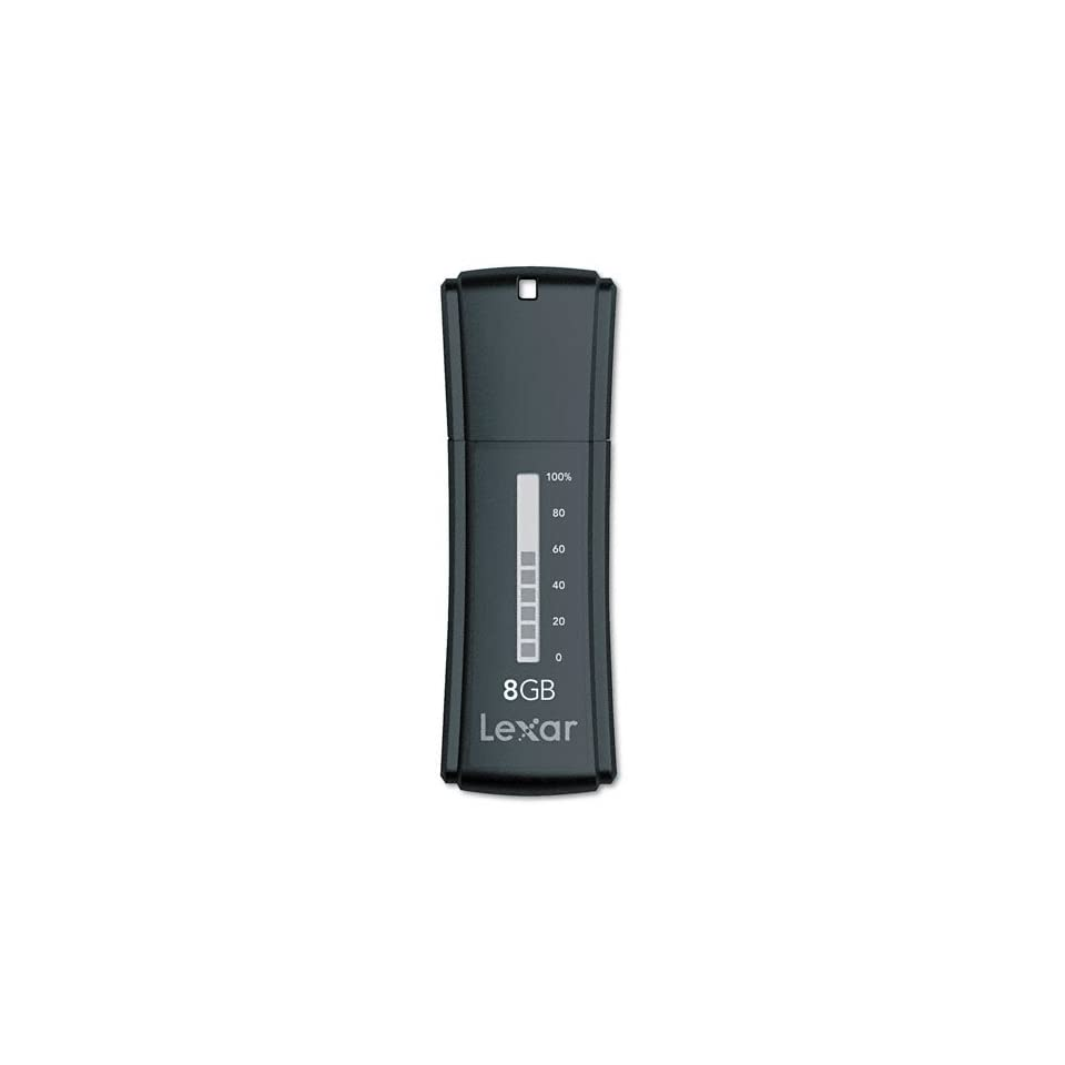 Lexar Products   Lexar   JumpDrive Secure II Plus USB Flash Drive, 8GB   Sold As 1 Each   10 bar capacity meter.   Pre loaded with advanced security software.   Create multiple password protected areas per drive.   File Shredder feature completely deletes