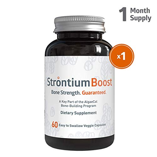 (Strontium Boost - Natural Strontium Citrate Supplement - Scientifically Proven to Increase Bone Density in 6 Months - 60 Easy-to-Swallow Veggie Capsules - 1 Bottle)