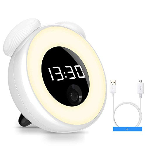 HOBEST Alarm Clock Kids, Rechargeable Digtal Alarm Clock Snooze Wake Up Light Women, Heavy Sleepers, Nursing Mom, Desk, Bedrooms(Motion Sensor, Touch Control, USB Powered)
