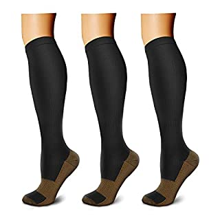 CHARMKING Copper Compression Socks (3 Pairs), 15-20 mmHg is Best Athletic & Daily for Men & Women, Running, Flight, Travel, Nurses - Boost Performance, Blood Circulation & Recovery (L/XL, Black)