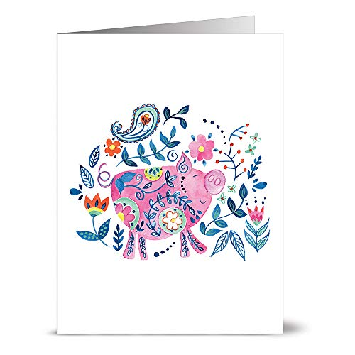 24 Note Cards - Folksy Pig - Blank CardsAqua Blue Ocean Envelopes -