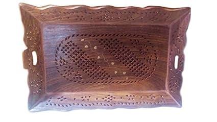 Bandeja de madera rectángulo forma jali y trabajo decorativo de madera con la frontera del enrollamiento