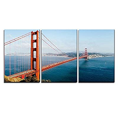 3 Piece Canvas Wall Art - Golden Gate Bridge, San Francisco, California, USA. - Modern Home Art Stretched and Framed Ready to Hang - 16