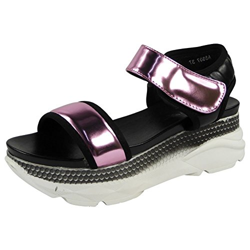 Womens Ladies Platform Velcro Glitter Comfy Mid Heel Wedge Shoes Sandals Size 3-8 Pink iDHo7ohQU