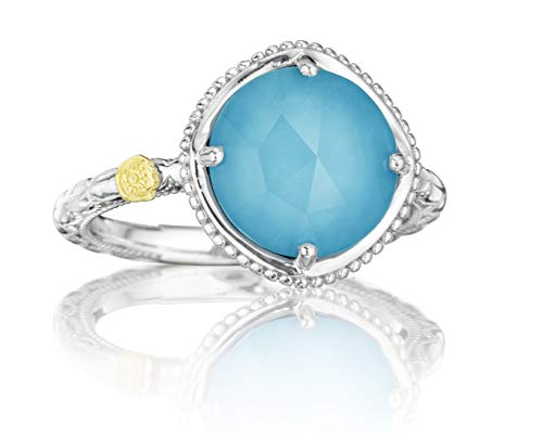 Tacori SR13505 Sterling Silver Island Rains Bold Clear Quartz Over Synthetic Turquoise Ring, Size 8 ()