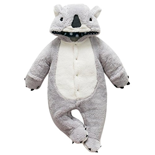 Winsummer Newborn Baby Girl Boy Winter Thick Warm 3D Animal Hoodies Romper Bodysuits Footies Outfits (Gray, (Baby Koala Outfit)