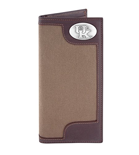 Wildcats College Leather (NCAA Kentucky Wildcats Canvas Leather Concho Secretary Wallet, Olive)