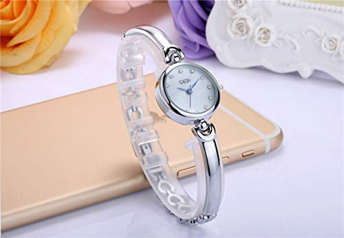 Women Gift Watch Women Girls Students Creative Fashion Fashion Unique Compact Hollow Diamond Heart-Shaped Bracelet Bangle Watch Watch Decoration (White