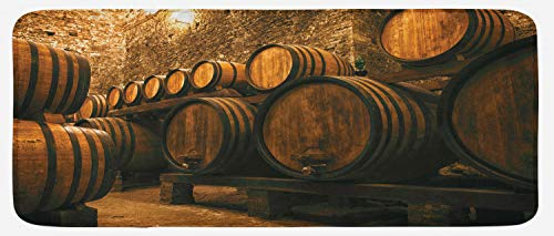 Lunarable Winery Kitchen Mat, Barrels for Storage of Wine Italy Oak Container in Cold Dark Underground Cellar, Plush Decorative Kithcen Mat with Non Slip Backing, 47 W X 19 L Inches, Apricot Brown