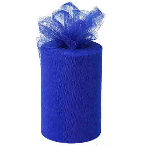 BalsaCircle 6-Inch x 300 feet Royal Blue Net Tulle Fabric Ribbon by The Roll - Wedding Party Favors Decorations DIY Crafts Sewing ()