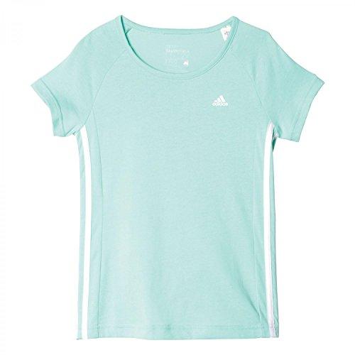adidas Mädchen Essentials Mid 3-Stripes T-Shirt, Ice Green/White, 152
