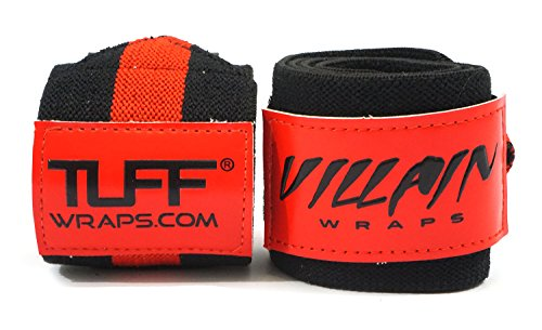 "Villain Wrist Wraps 16"" for Powerlifting, Weightlifting, Strongman Training, Crossfit - (Black/Red, 16 Inches) …"