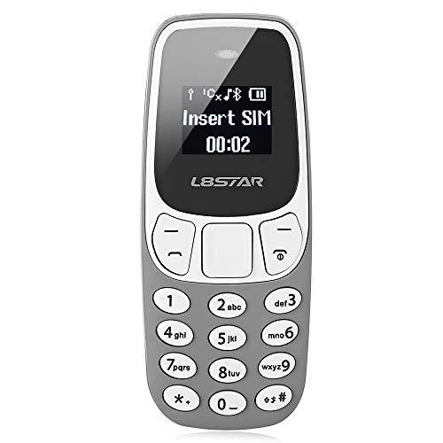 L8star BM10 Worlds Smallest Phone 2 in 1 Mini Phone Unlocked GSM with Hands Free Bluetooth Dialer Bluetooth Headphone Dual SIM Card GSM (Gray) (Mini Unlocked Gsm Phone)