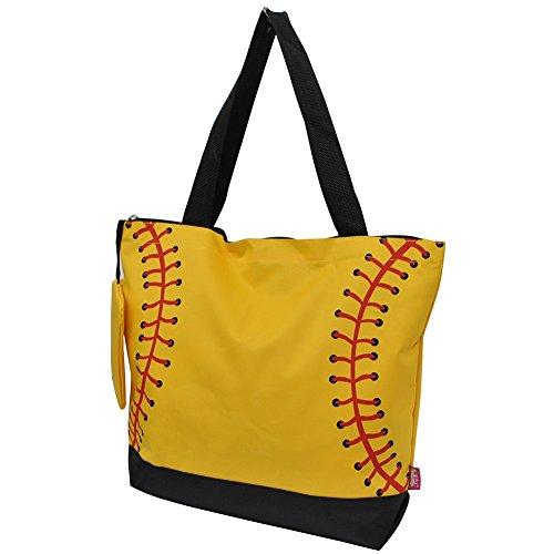 NGIL Softball Yellow Print Canvas Tote Bag