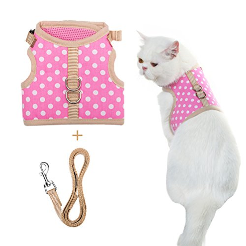 Escape Proof Cat Harness with Leash - Holster Style Adjustable Soft Mesh - Best for Walking Dots Medium