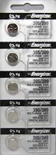 Energizer 395 / 399 Silver Oxide 5 Batteries (SR927W / SR927SW)