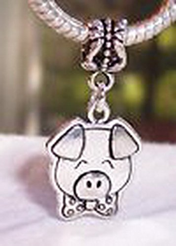 Pugs & Pandoras Bow Tie Pig Animal Pot Bellied Dangle Bead for Silver European Charm Bracelets PP20719 (Pandora Bow Charm)