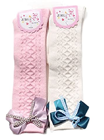Lian LifeStyle Girls' 2 Pairs Knee High Cotton Socks Butterfly Knot(0Y-2Y) (Cheap Butterfly Stuff)
