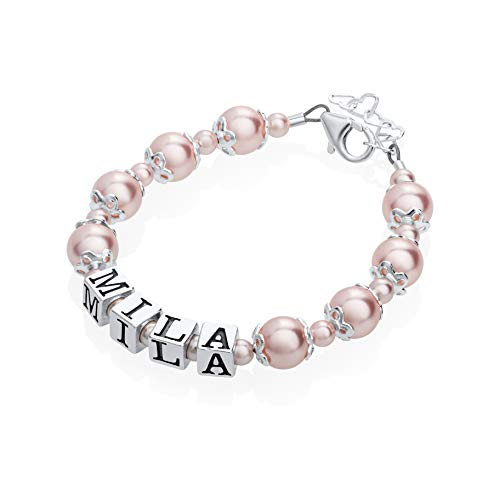(Personalized Name Luxury Sterling Silver with Swarovski Crystal Infant Girl Keepsake Bracelet (BNBC_S))
